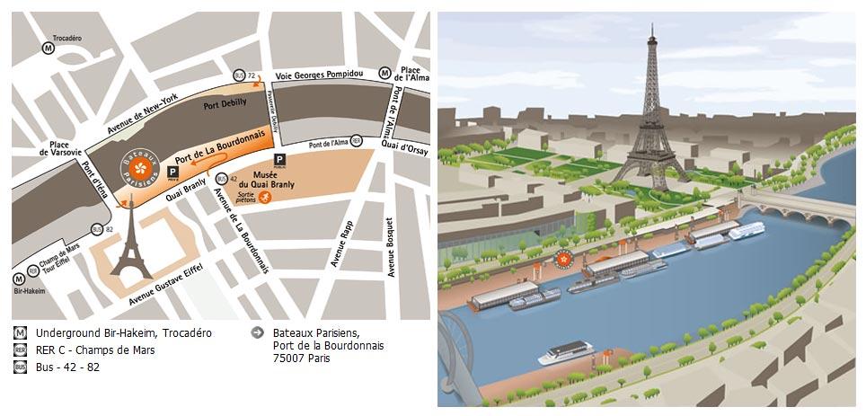 Biljetter till parismagique sightseeing med b t - Bateaux parisiens port de la bourdonnais ...