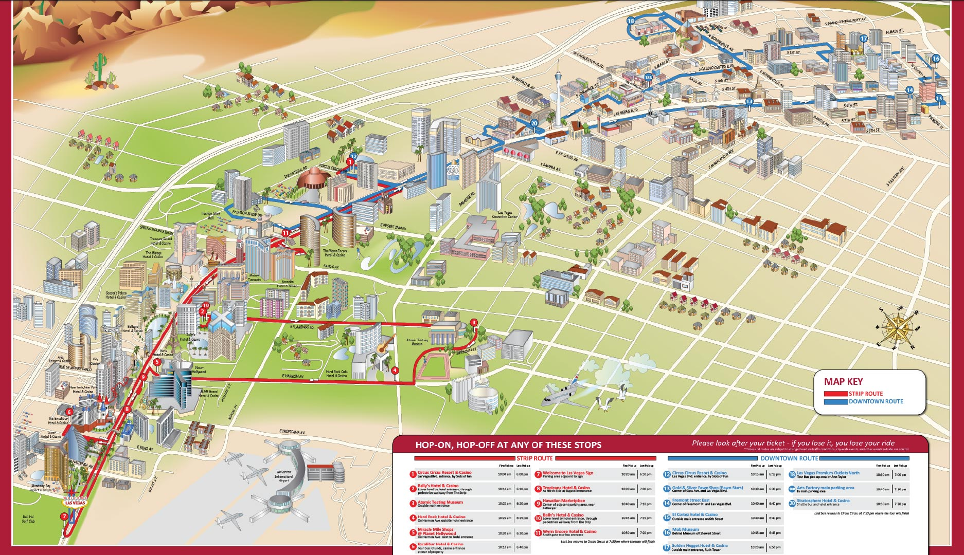 download map of the  loops strip and downtown routes. las vegas hopon hopoff  ticmate