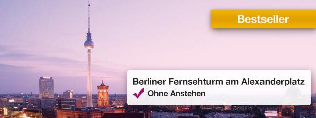 Warteschlange zu Berlins Wahrzeichen, dem Fernsehturm, umgehen! Genießen Sie die 360°-Panorama-Aussicht aus 207 Meter Höhe. Tickets noch heute buchen!