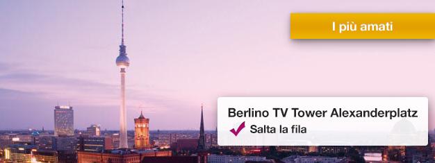 Salta la coda all'iconica Torre della TV di Berlino! Goditi la vista panoramica a 360 gradi da 207 metri sopra la città. È un must! Prenota i biglietti oggi!