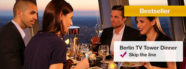 Enjoy a VIP Dinner at the revolving restaurant at the top of the TV Tower in Berlin! Book your VIP Dinner tickets online and skip the line to the TV Tower!