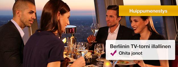 Nauti VIP-illallisesta Berliinin TV-tornin pyörivässä ravintolassa! Osta VIP-illallislippusi netistä ja ohita jonot TV-tornissa!