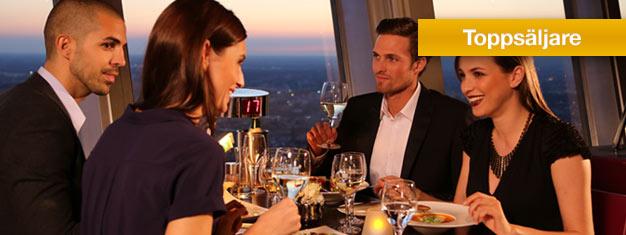 Boka biljett till middag i den roterande restaurangen högst upp i TV-tornet på Alexanderplatz i Berlin. Boka middagsbiljetter till Fernsehturm i Berlin här!